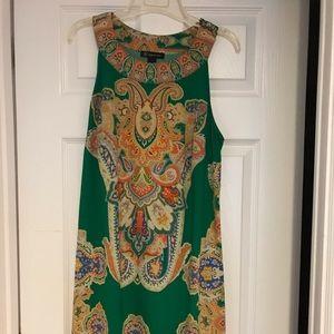Sleeveless green printed Summer Dress
